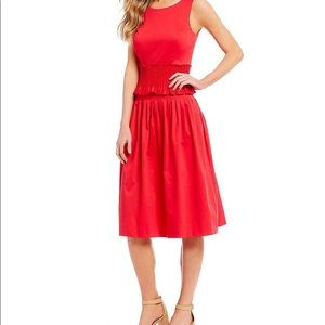 Antonio Melani Smocked Waist Midi Red Dress size 4